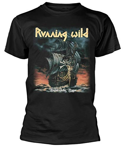 Running Wild 'Under Jolly Roger Album' (Black) T-Shirt (Large)