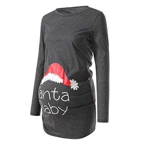 T-Shirt à Manches Longues pour Femme Top Maternité d'allaitement T-Shirt Boutons Cou Tunique Top T-Shirt de maternité Hauts vêtements Grossesse Pullover de Allaitement Sweats (X-Large, Gris)