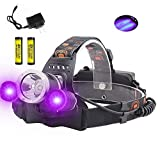 BESTSUN Tactical Blacklight Headlamp UV-Ultraviolet LED (1x Cree XML-T6 White LED and 2 x UV LEDs) 4 Modes 395-410nm 18650 Rechargeable Leak detector Cat-Dog-Pet Urine Detector (with Chager & Battery)