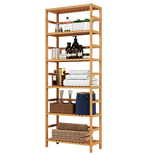 Homfa Bamboo Shelf 6 Tier, 63.4 Inches Height Free Standing Bookshelf Plant Flower Stand Rack Bathroom Storage Tower, Multipurpose Utility Organizer Shelf