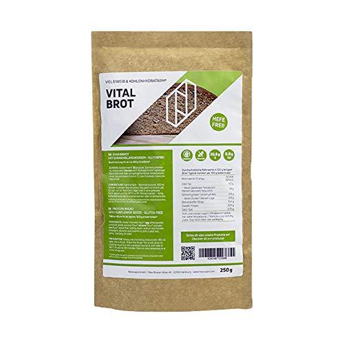 Neosupps Protein Brot 'Vital Brot' 250g | Hochwertige Proteinquelle | Getreidesorten | Mandelmehl | Kokosmehl | Goldleinmehl | Körner | Sonnenblumenkerne |Low Carb Brot |Diät |Abnehmen, Gewicht:250g
