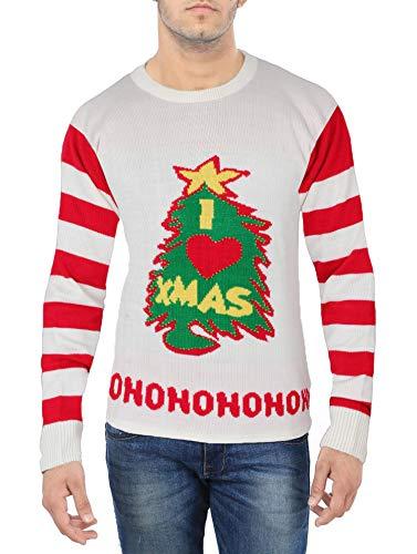 Ugly Christmas Xmas Sweater Men - Mens I Love Xmas Tree Crewneck Sweater (XL)
