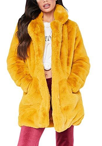 Screenes Winterparka Damen Langarm Revers Loose Casual Kunstpelz Mantel Unifarben Verdicken Warm Plüsch Pelzjacke Felljacke Coat (Color : Gelb, Size : XL)