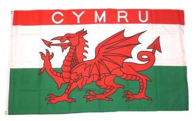 Fahne / Flagge Wales Schrift CYMRU NEU 90 x 150 cm