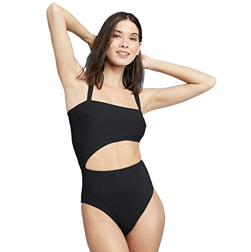 Shade amp Shore Women#039s Ribbed Cut Out One Piece Swimsuit Black  Medium