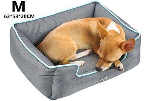 Pecute Hundebett Haustierbett fur Katzen und kleine mittlere Hunde Abnehmbar Rechteck Wasserdicht Maschinewaschbar M(63×53cm)