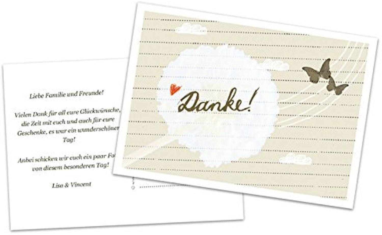 50 Danksagungskarten mit DRUCKSERVICE  Danke  Verliebt Verlobt Verheiratet - Design, Schmetterling, mit individuellem Text auf der Rückseite, Dankeskarte für deine Hochzeit, Geburtstag, Jubiläum auf Recyclingpapier B00TXFDB5E  | Primäre Qua