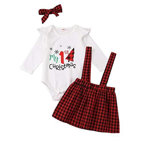 TUEMOS Mi primer traje de Navidad para recién nacido, bebé niña, mameluco de árbol de Navidad, falda de cuadros rojos con diadema y ropa de Navidad