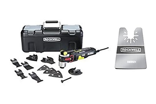 Rockwell Oscillating Multi-Tool 12 Piece Kit includes 10 Accessories, Carrying Bag, and Oscillating Tool with Oscillating Multitool Rigid Scraper Blade