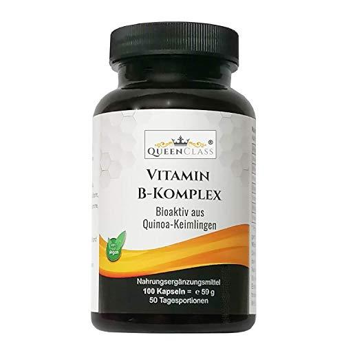 Vitamin B-Komplex von QueenClass 100 Kapseln hochdosiert aus Quinoa-Keimlingen - 8 B Vitamine B1, B2, B3, B5, B6, B7, B9 und B12