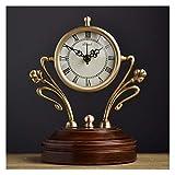 Relojes de Suelo Reloj de escritorio de cobre americano moda creativo de madera sólido reloj de escritorio sala de estar decoración mute alta calidad cuarzo reloj personalidad reloj Relojes despertado