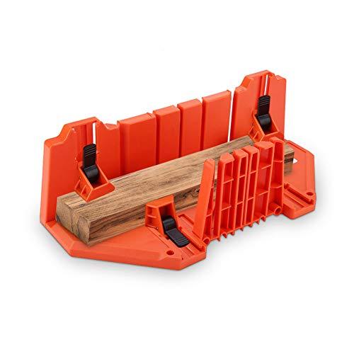Caja de Ingletes de Plástico, Caja de Sierra Ingletadora, Caja Almacenamiento de Corte de Inglete con Compartimento para Sierra, para Ángulo de Corte 0 ° 22.5 ° 45 ° 90 °