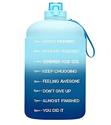 Venture Pal Large 128oz Leakproof BPA Free Fitness Sports Water Bottle with Motivational Time Marker to Ensure You Drink Enough Water Throughout The Day-Green/Blue Gradient