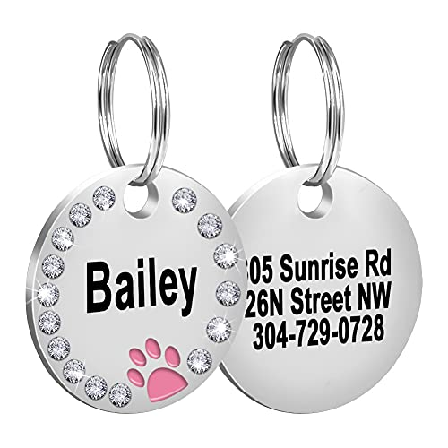 Fibernail Custom Crystals Pet ID Tag,Engraved Dog ID Collar Tags,Personalized Rhinestones Cat Tags,Sparkling Paw Double Sided Pet Tags( Pink)