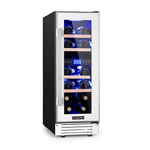 Klarstein Vinovilla 17 - Weinkühlschrank, 2 Zonen, 53 Liter, 17 Weinflaschen, 30 cm breit, Glastür, 3-farbige Innenbeleuchtung, 4 Buchenholzeinschübe, Anti-Vibration, Touch-Bedienfeld, weiß