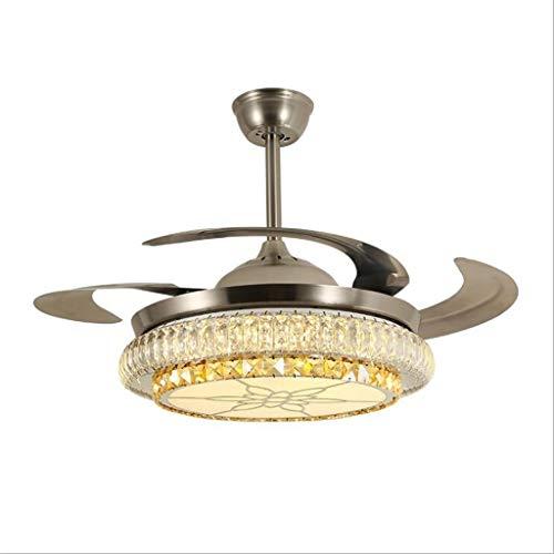 YAYA Plafondventilator met ledverlichting, 48 inch, onzichtbaar, retrostijl, met verlichting, slaapkamer, woonkamer, plafondventilator, lamp met afstandsbediening, verlichting plafondventilator, licht