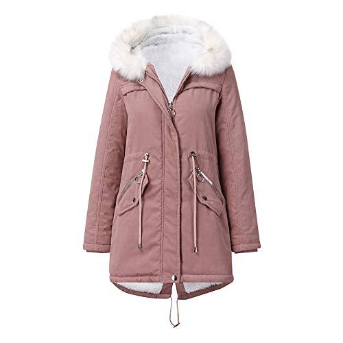 YYNUDA Płaszcz damski kurtka zimowa parka ciepła kurtka zimowa długa z futrem z bawełny