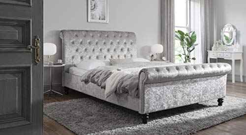 Chesterfield Double 4ft 6 Bed Frame King 5ft Bed Frame with slats – Crushed Velvet Fabric Sleigh Bed Fully upholstered in Silver (Silver, King 5ft)