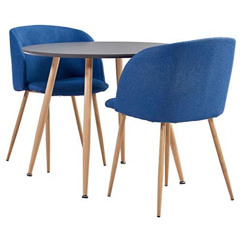 vidaXL Essgruppe 3-TLG. Esszimmergruppe Esszimmergarnitur Tischset Sitzgruppe Küchentisch Esstisch Esszimmertisch mit 2 Stühlen Stoff Blau