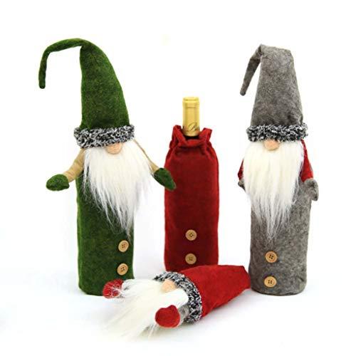 Set Von 3 Rot Grün Grau Weihnachtswein-Flaschen-Hüllen, Schwedisch Gnome Design Wein-Flaschen-Geschenk-Beutel Für Champagne Weinflasche Dekoration