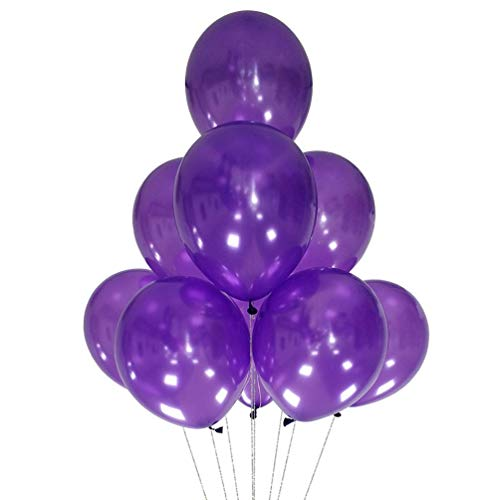 Maylai 100 Pack Pearl Balloons 12 Inch(Thicken 3.2g/pcs) Round Helium Pearlized Balloons for Wedding Birthday Christmas Party Decoration (Purple)