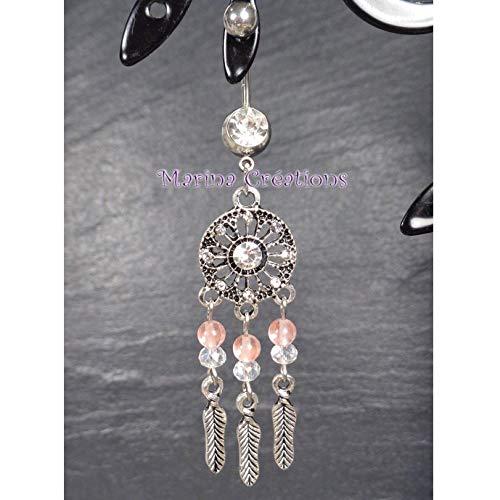 Bauchnabel piercing Traumfänger 316L chirurgischer Stahlstab Jade rosa coralle und kristall transparent