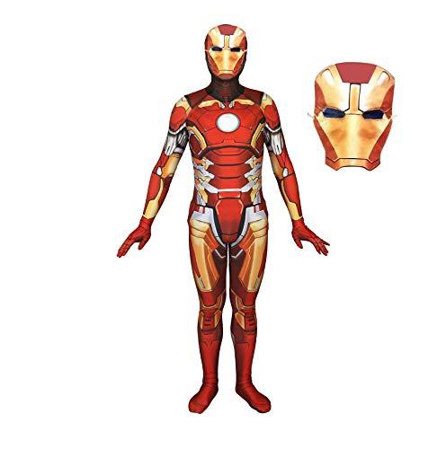 CXYGZLJ Adultos Iron Man Cosplay Disfraz Onesies Leotardo, Mono de superhroe para nios, Disfraz de Cosplay de Halloween con mscara, Kids S