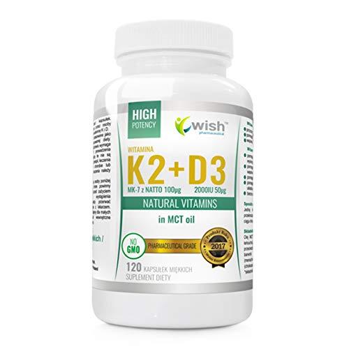 Wish Pharmaceutical Vitamina K2 Mk-7 + D3 en MCT Paquete de 1 x 120 Cápsulas - Colecalciferol y Menachinone en Aceite