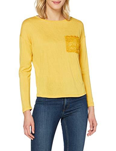 Springfield Camiseta Bolsillo Crochet T-Shirt, Amarillo, S Womens