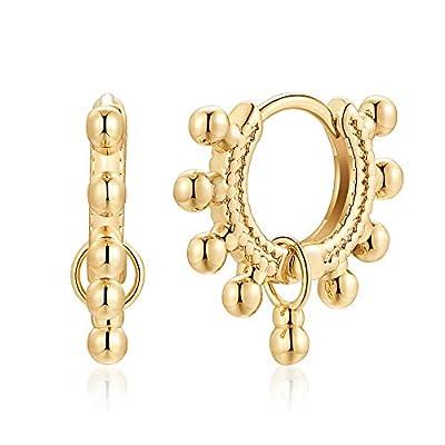 Gold Dainty Huggie Hoop Earring, 925 Sterling Silver Post 14K Gold Plated Cute Tiny Huggie Dangle Drop Ball Hoop Earrings for Women Minimalist Hypoallergenic Jewelry Gifts for Women