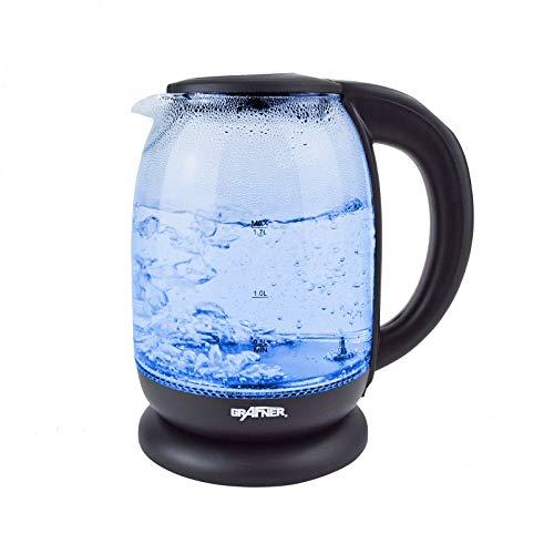 Grafner Digitaler Design Glas Wasserkocher 1,7 Liter, mit Temperaturwahl, TÜV-Rheinland zertifiziert, 2200 Watt, mit LED Beleuchtung, Trockenlaufschutz, BPA-frei, 360° Basis, schwarz