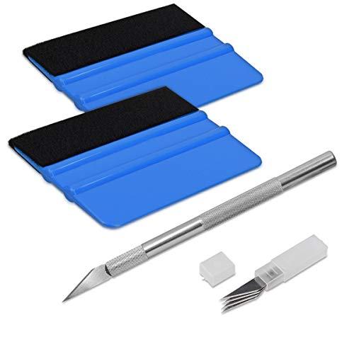 kwmobile Kit de instalación de Vinilo para Coche - Incluye rasquetas Cuchillo de precisión y Cuchillas - Aplicador de láminas para Lunas Cristales