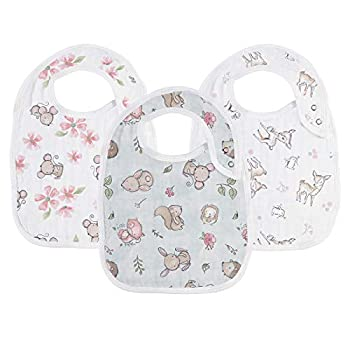 Baby Snap Muslin Bibs for Girls,100% Cotton Baby Drool Bibs with 3 Absorbent & Soft Layers Baby Girl Bibs for Infants,Newborns and Toddlers,Adjustable,Machine Washable Naively