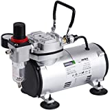 TIMBERTECH Airbrush Compressor AS18-2, Basic Mini Compressor, 4 Bar/Auto Stop for Hobby Paint Body Tattoo Cake Decoration