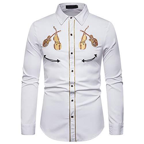 Loeay Camicia Bianca Ricamata Cowboy Occidentale Modello Violino Manica Lunga Abito Sociale Camicie da Uomo Casual Slim Fit Streetwear Bianco L