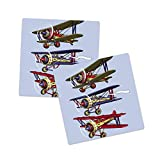 Lunarable Airplane Sandstone Coaster Set of 2, 3 Biplanes Flies on a Background of the Sky Ink Paint Old Fashioned Travel, Absorbant Square Coasters for Drinks Mug Cups, 4.25', Multicolor