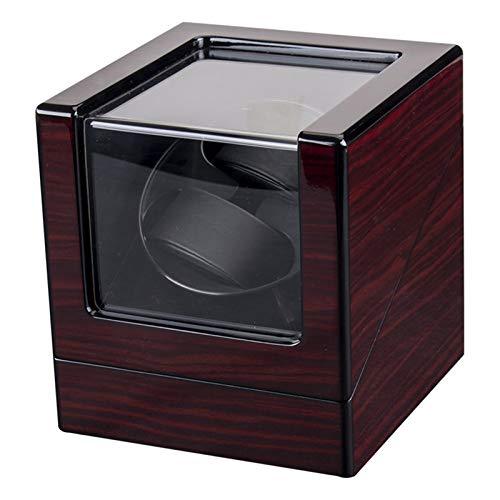 柔軟 ワインダーを見る LEDバックライト付き機械式時計 ワインディングボックスモーターシェーカー ミニデュアルポジションウォッチ ワインダーホルダー収納オーガナイザー (Color : Wood grain)