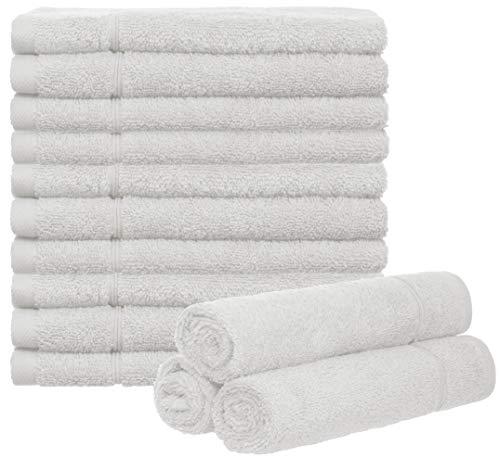 Brandsseller - Juego de 10 toallas para invitados (50 x 30 cm, 100% algodón), color blanco