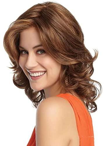 Pelo rizado corto y medio, peluca esponjosa, pelo castaño, aspecto natural, resistente al calor, moda sintética completa