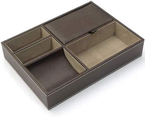 kawauso レザー 蓋付 トレイ 整理 名刺 収納 高級感 アンティーク 仕切り(黒・茶色) (茶色)