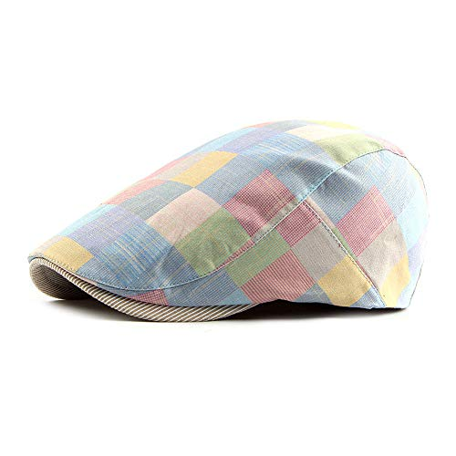 Gudessly Mens Adjustable Colorful Striped Plaid Ivy Newsboy Cabbie Gatsby Golf Beret Flat Cotton Hat Cap
