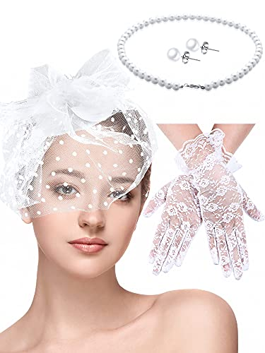 4 Pieces Fascinators Hat Women Tea Party Hats Wedding Bridal Cocktail Headwear (White)
