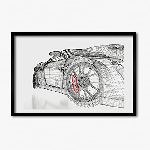 Tulup Imagen Impresión MDF Marco Cuadro 60x40cm Impresiones Pintura Salón Cocina Póster Decoración de Pared - parrilla del coche