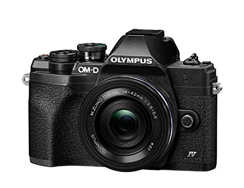 Kit de cámara del Sistema Micro Four Thirds Olympus OM-D E-M10 Mark IV, Sensor de 20 Mpx, Visor electrónico, vídeo 4K, Wi-Fi, Negro, Incluye el M.Zuiko Digital ED 14-42mm F3.5-5.6 EZ Pancake Negro