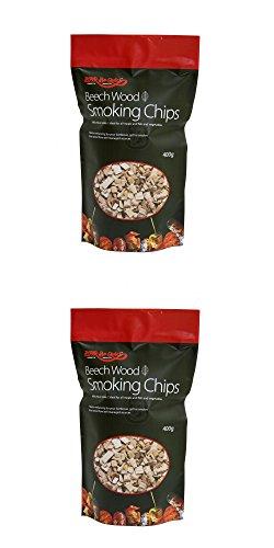 2 X 400 g - Paquet de Beechwood puces fumeurs - Convient pour le gaz ou le charbon barbecues