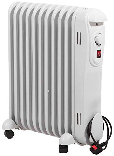 Netagon Modern Curved White Electric Portable Oil Filled Radiator Heater with 3 Heat Settings & Adjustable Thermostat (2 Kw 9 Fins)