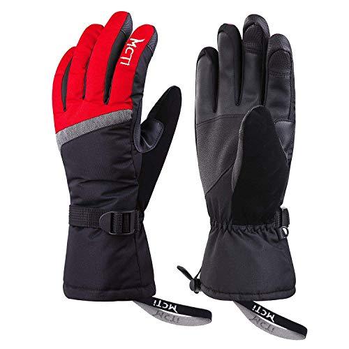Kineed Skihandschuhe Damen Touchscreen Winterhandschuhe Wasserdicht Snowboardhandschuhe Winter Warm Schnee Handschuhe Winddicht 3M Thinsulate Rot M