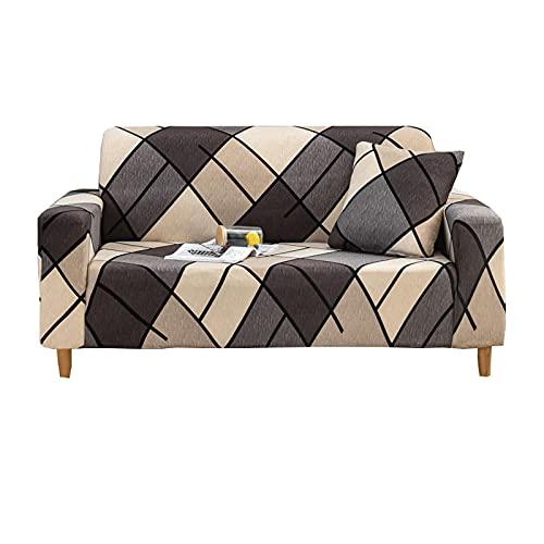 ZHFEL Impreso Funda de Sofá,Superelástico Cubre Sofa para 1 2 3 4 plazas Protector para Muebles Antideslizante Lavable Elastano Funda para sofá para Sala Dormitorio-L 185-230cm(72-90inch)-N