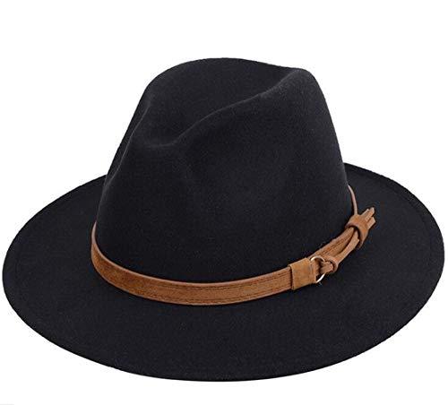 Upstore - Cappello Fedora a tesa larga unisex classico con fibbia per cintura in feltro nero