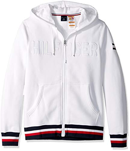 Tommy Hilfiger Herren Hoodie Sweatshirt with Magnetic Zipper Kapuzenpulli, Bright White, Medium